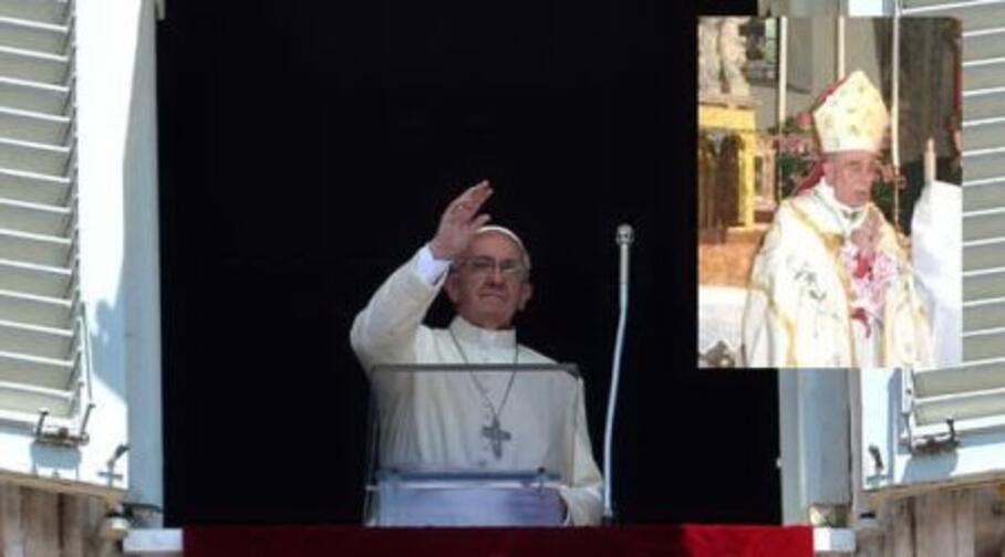 papa francesco e nel riquadro luigi de magistris