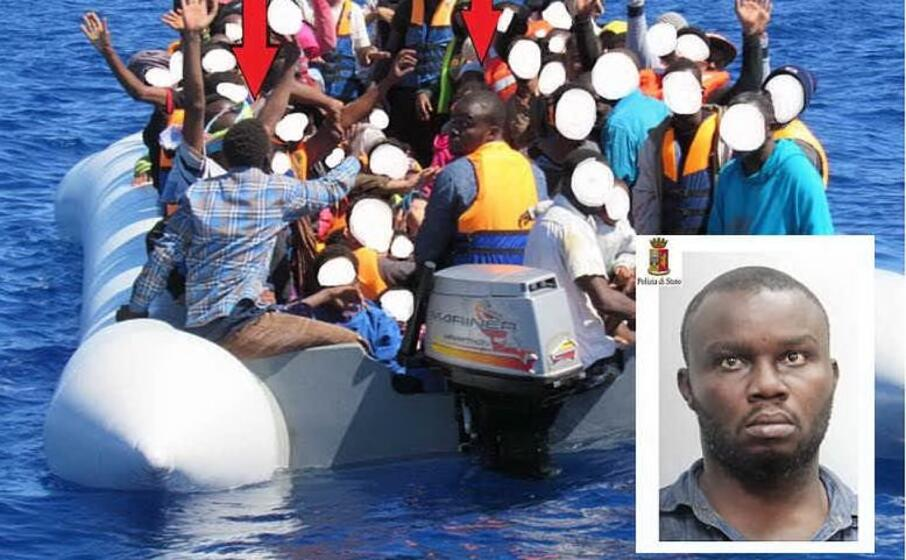 un gommone carico di migranti e (nel riquadro) il presunto scafista