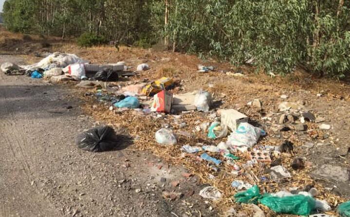 rifiuti sulla strada 130 nel tratto tra domusnovas e siliqua una vergogna daniela da calasetta (4 agosto 2017)