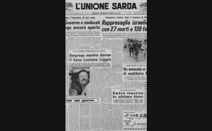 la notizia dell arresto sulla prima pagina de l unione sarda