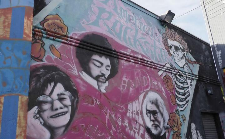 a san francisco un murale con lei jimi hendrix e jerry garcia (ansa)