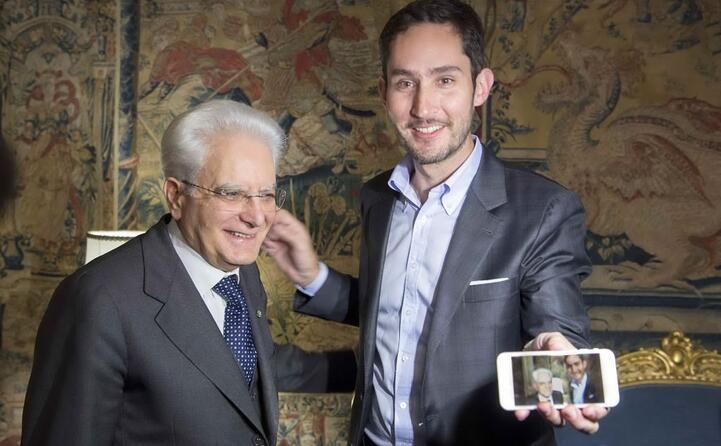 kevin systrom cofondatore del social con il capo dello stato sergio mattarella (ansa)
