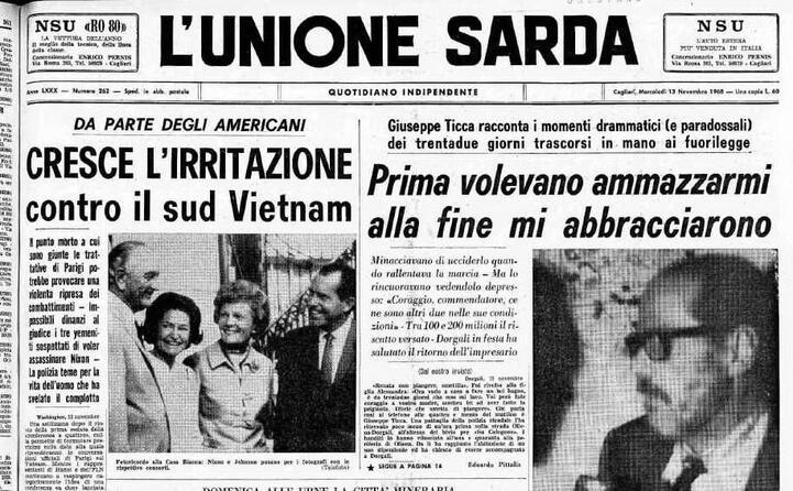 la prima pagina dopo il rilascio (archivio l unione sarda)