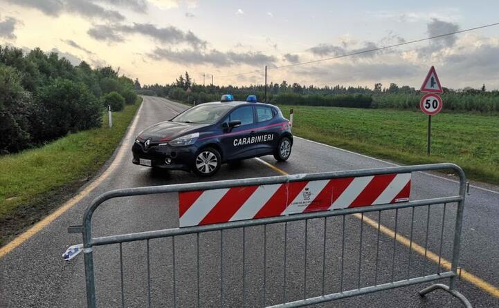 la strada provinciale 4 chiusa dall uscita di san sperate fino al km8 in direzione sestu (foto cc cagliari)