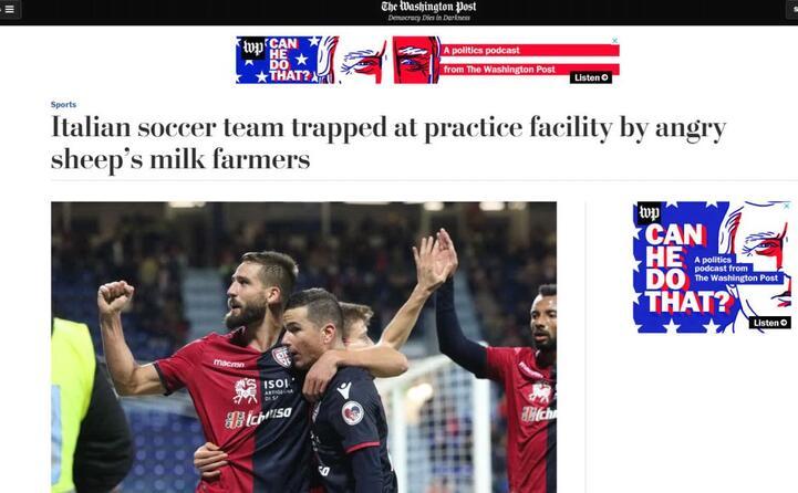 calciatori italiani intrappolati dalla protesta dei pastori (the washington post)