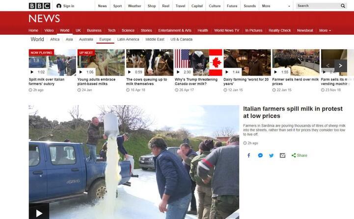 i pastori italiani protestano e buttano il latte (bbc news)