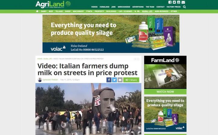 latte in strada in segno di protesta (agriland)