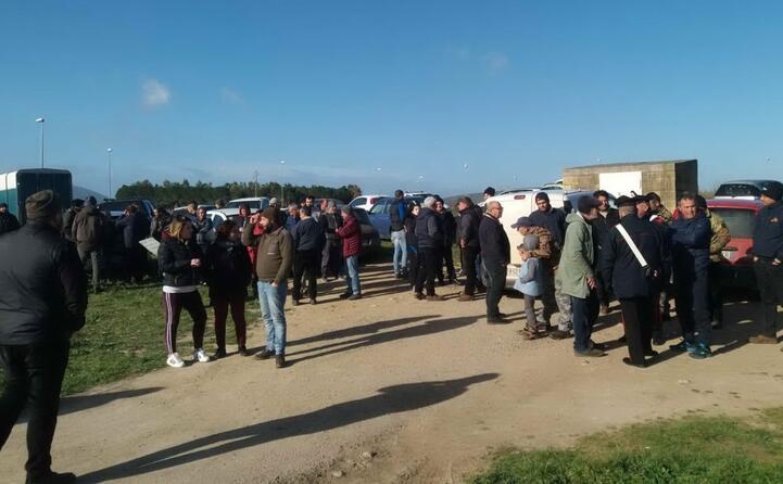 manifestazione dei pastori vicino alla rotatoria due mari olmedo (foto di simone testoni)