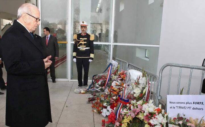 il presidente tunisino sul luogo della strage
