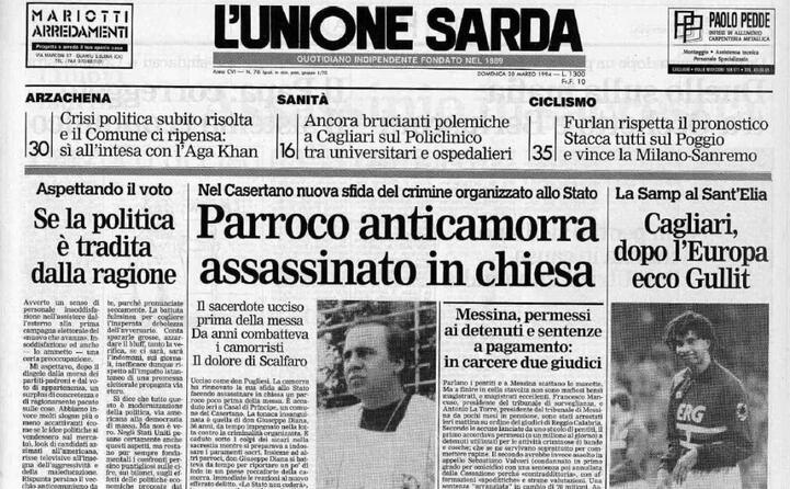 accaddeoggi 19 marzo 1994 viene assassinato don giuseppe diana (da l unione sarda)