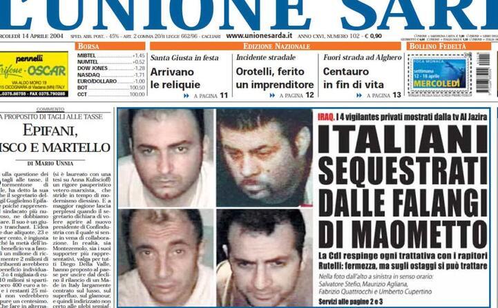 accaddeoggi 13 aprile 2004 arriva la notizia del rapimento di quattro italiani in iraq