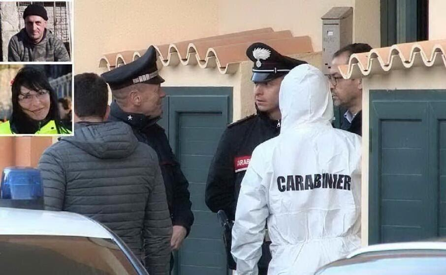 i carabinieri sul luogo del delitto (l unione sarda) nei riquadri romina meloni ed ettore sini