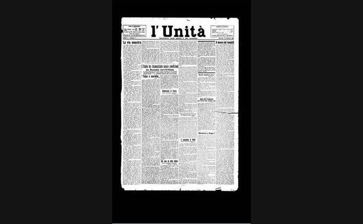 la prima pagina del primo numero de l unit