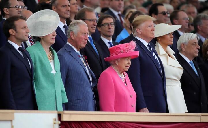 macron may il principe carlo la regina elisabetta donald e melania trump