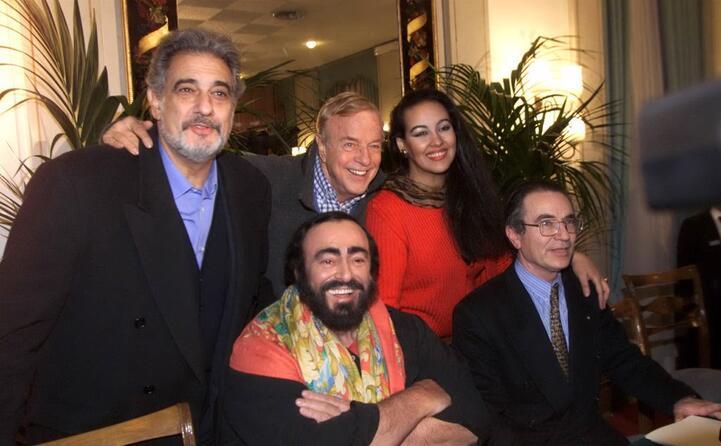 da sinistra placido domingo franco zeffirelli ines salazar luciano pavarotti e francesco ernani