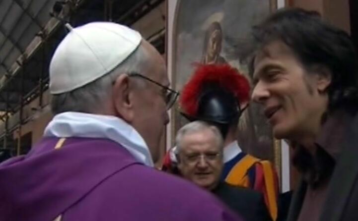 pietro orlandi fratello di emanuela con papa francesco (ansa)