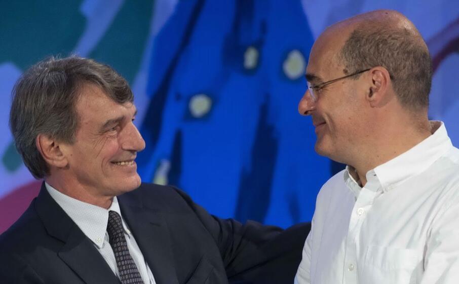 zingaretti con il presidente dell europarlamento david sassoli (ansa)