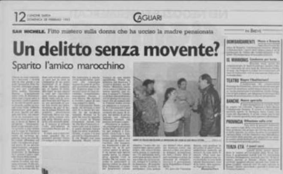 le indagini nelle cronache de l unione sarda del febbraio 1993