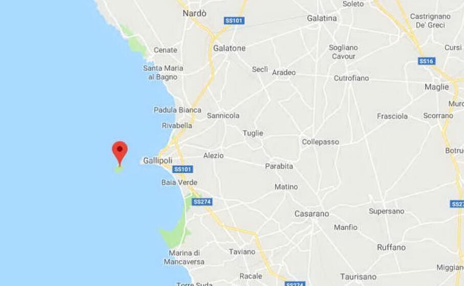 l isola di sant andrea il luogo in cui sono stati lasciati (foto google maps)