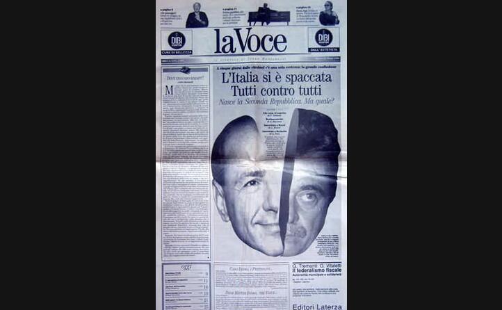 il primo numero de la voce quotidiano fondato dopo l uscita dal giornale