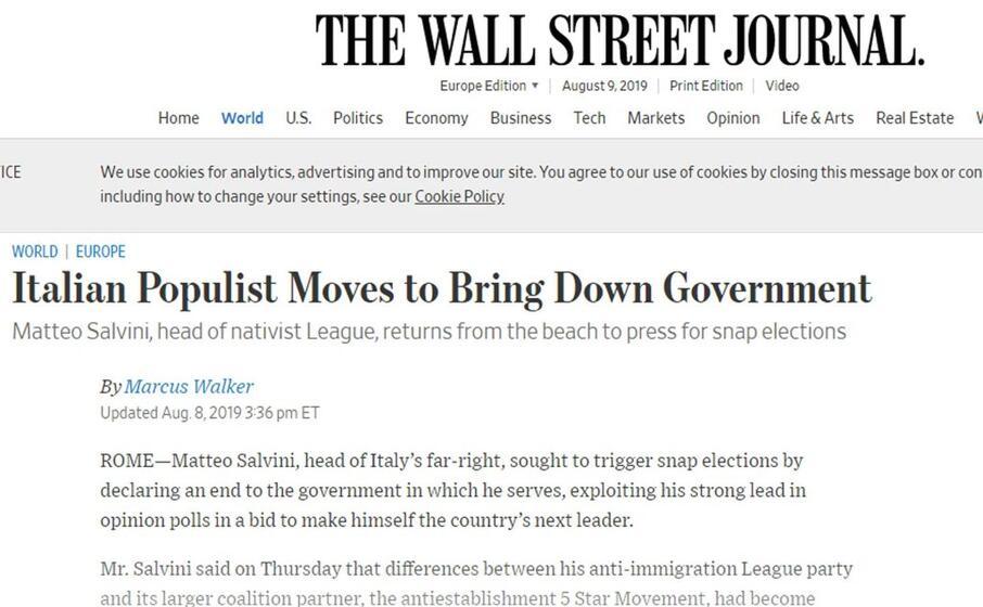 il populista italiano fa cadere il governo the wall street journal