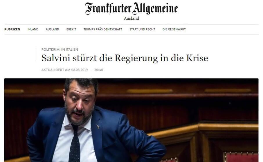 salvini provoca la crisi di governo il titolo della frankfurter allgemeine