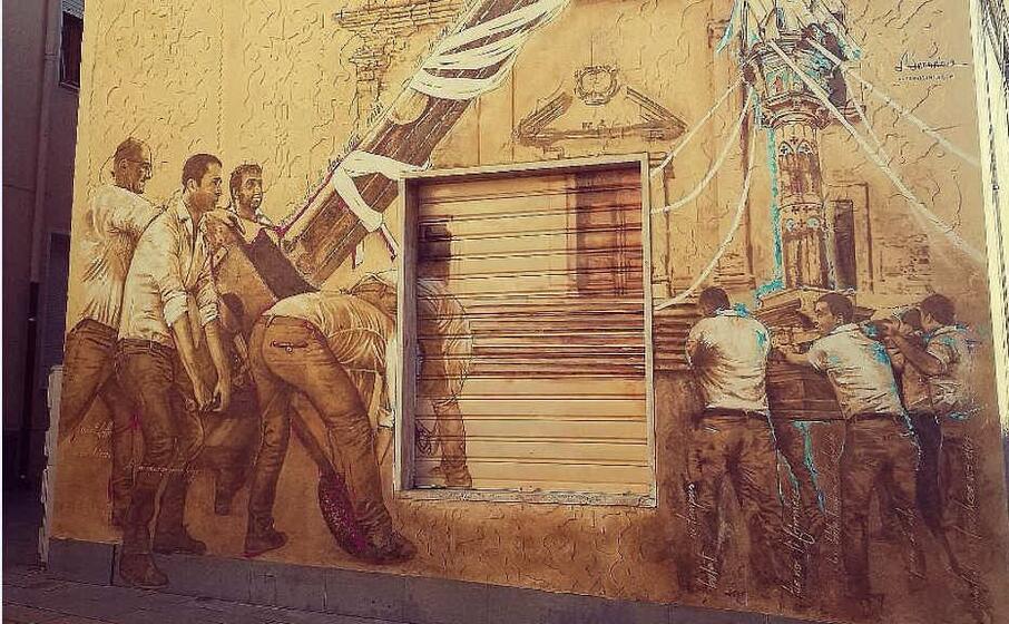 il murales (foto l unione sarda pala)