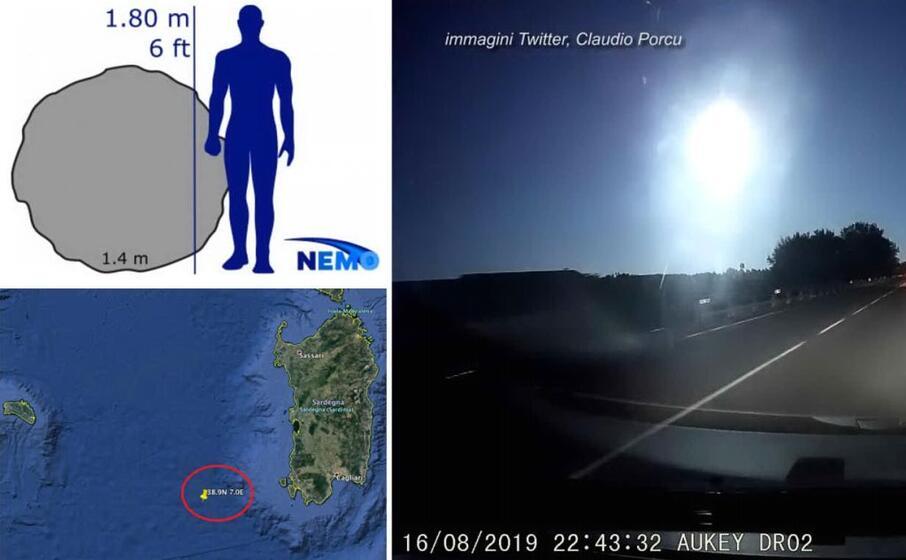 a sinistra la grandezza della meteora rispetto a un uomo e il punto di esplosione a sinistra la luce sprigionata ripresa dalla dashcam di un utente sardo di twitter claudio porcu