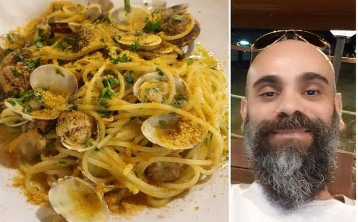 un piatto di spaghetti con vongole e bottarga cucinato da giulio aramo da cagliari