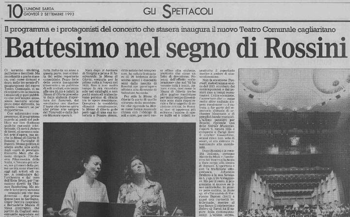 accaddeoggi 2 settembre 1993 l inaugurazione del teatro a cagliari