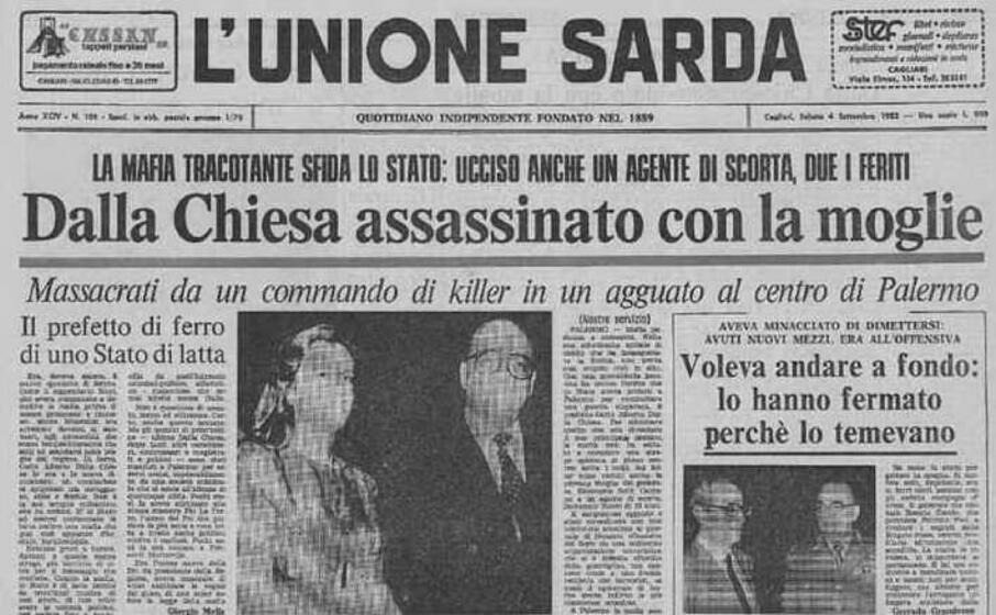la prima pagina de l unione sarda all indomani dell assassinio dalla chiesa (archivio us)