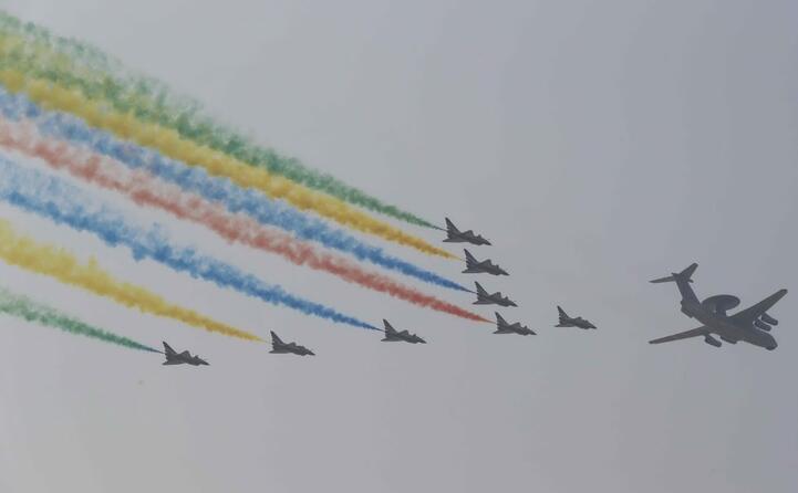 lo show dei jet nel cielo di pechino