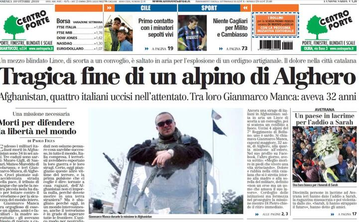 la notizia sulla prima pagina de l unione sarda
