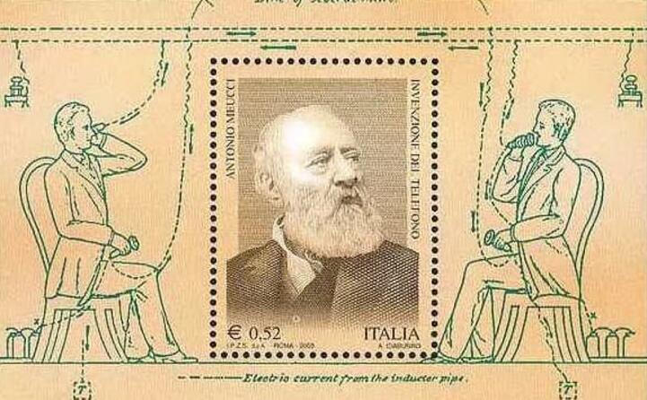 un francobollo delle poste dedicato a meucci