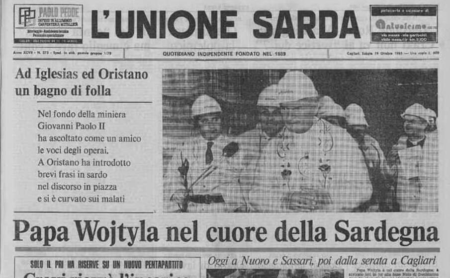 accaddeoggi 19 ottobre 1985 l unione sarda dedica la prima pagina al papa