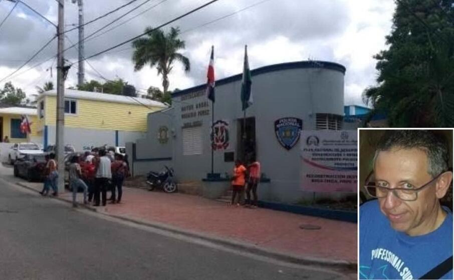 il distaccamento di polizia di boca chica e nel riquadro l imprenditore ucciso (foto l unione sarda tellini)