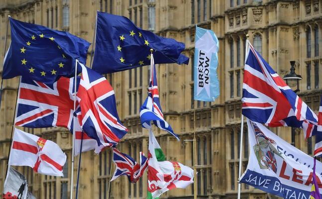 bandiere pro e contro la brexit sventolano davanti a westminster (ansa)