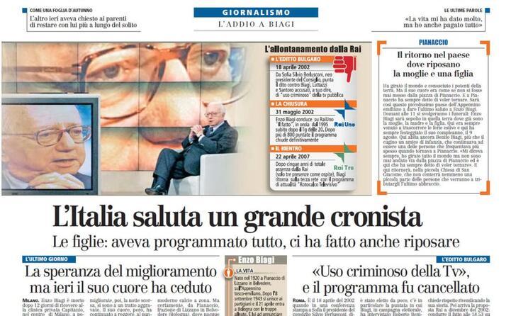l italia saluta un grande cronista il titolo dell articolo dedicato alla morte nelle pagine interne