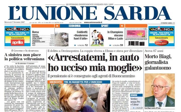 la notizia della morte in prima pagina su l unione sarda