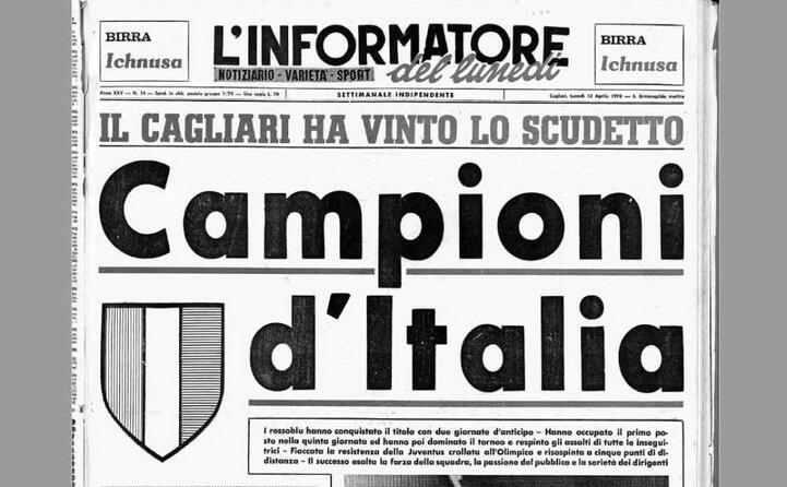 la prima pagina de l unione sarda dedicata allo scudetto 1970