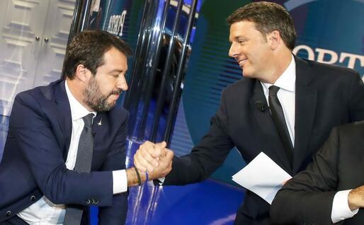 Salvini e Renzi in tv (Ansa)