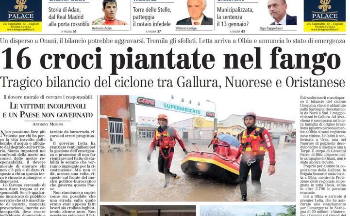 accaddeoggi sei anni fa il tragico bilancio dell alluvione che colp la sardegna 16 morti