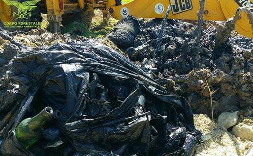 Alcuni rifiuti rinvenuti dal Corpo Forestale