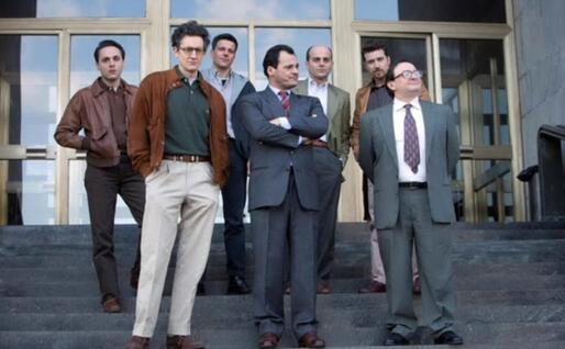 """Il cast della serie di Sky """"1992"""". Antonio Gerardi, al centro, interpreta Di Pietro (Ansa)"""