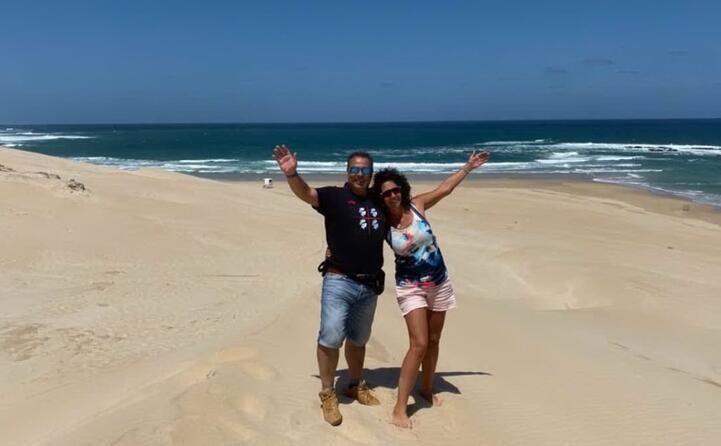 andrea e dorte utzeri di monastir sulla spiaggia di sardinia bay in sudafrica