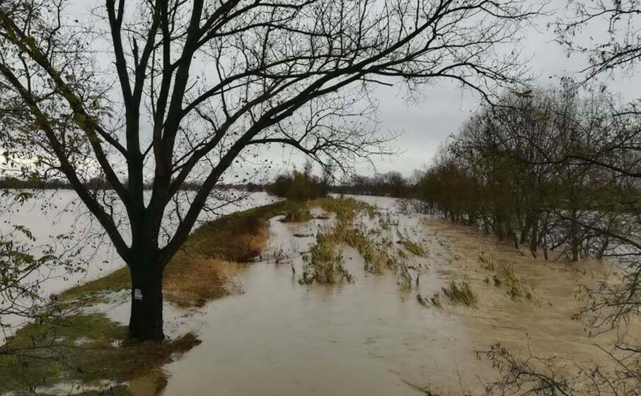 il fiume bormida in piena (ansa girani)