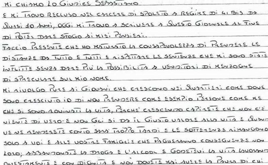 la lettera di sebastiano lo giudice (ansa)