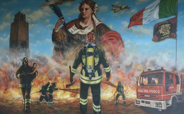 il murales davanti alla caserma (foto elia sanna)