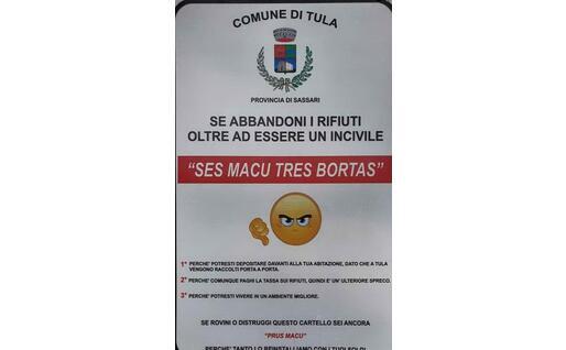 Foto di uno dei cartelli esposti a Tula dall'Amministrazione che (foto concessa dall'Amministrazione)