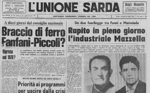 La notizia del rapimento Mazzella (archivio L'Unione Sarda)